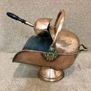 19th Century Copper Coal Helmet With Shovel