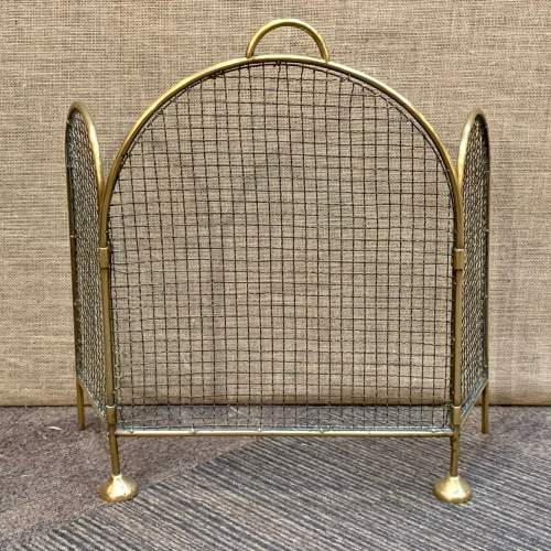 Victorian Brass and Wirework Folding Fireguard image-1
