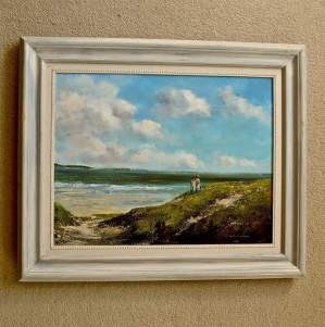 Our Summer on the Shore Original Oil Painting on Canvas by Maurice William Crawshaw