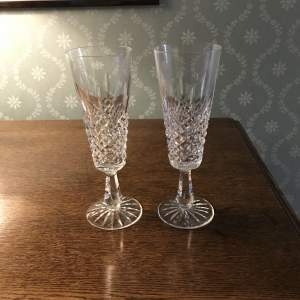 Pair of Cased Waterford Crystal Champagne Flutes Lismore Pattern