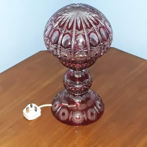 Mid 20th Century Ruby Overlay Cut Crystal Mushroom Lamp image-1