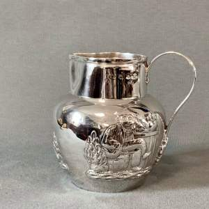 Late 19th Century Hand Embossed Silver Jug