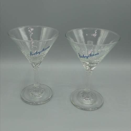 Pair of Twist Stem Babycham Glasses image-1