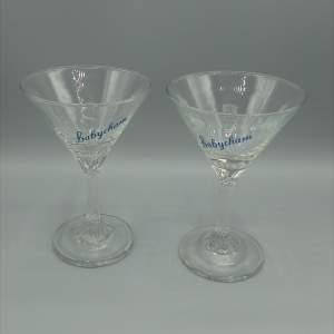 Pair of Twist Stem Babycham Glasses