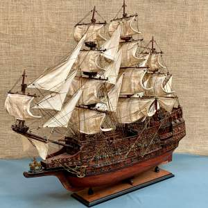 Mid 20th Century Detailed Scratch Built Man O War Ship Model