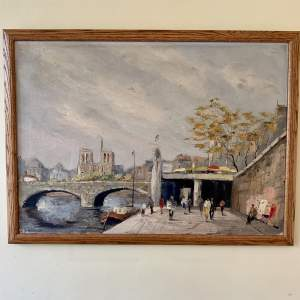Oil Painting On The Seine French School