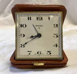 Swiza 8 Day Bedside Desktop Alarm Clock in Leather Case Circa 1950