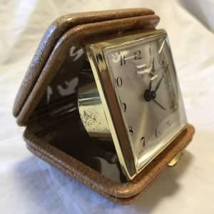 Swiza 8-Day Desktop Bedside Alarm Clock in Leather Case Circa 1950