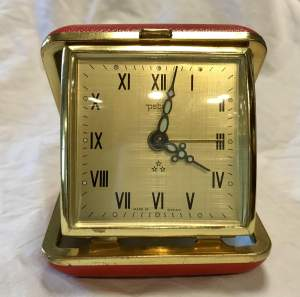 Peter 30 Hour Red Cased Travel Alarm Clock Made in Germany Circa 1940