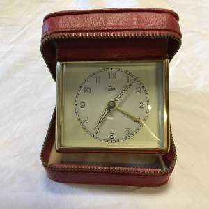 Emes 30 Hour Red Cased Travel Alarm Clock Made in Germany Circa 1940