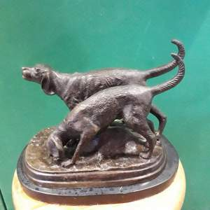Bronze Hunting Dogs On Marble Base