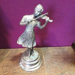 Early 20th Century Bronze Of A Lady Playing The Violin