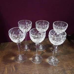 Set Of Six Brierley Crystal Hock Glasses In The Braemar Pattern