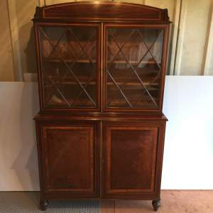 Georgian Mahogany Inlaid Bookcase Cupboard Circa 1780