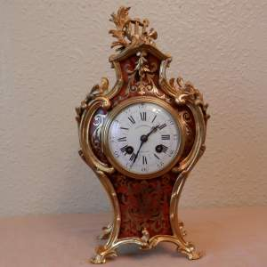 French Red Boulle Clock with Bronze Mounts