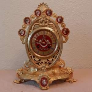 Gilt Bronze Mantel Clock with Red Porcelain Panels