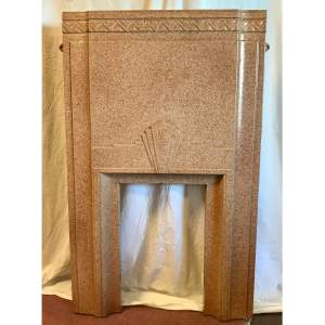 Cast Iron Art Deco Fireplace With Marbled Enamel Finish Circa 1930s