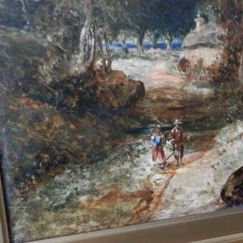 Oil on Board of Couple Walking in a Forest image-3