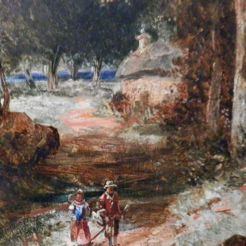 Oil on Board of Couple Walking in a Forest image-4