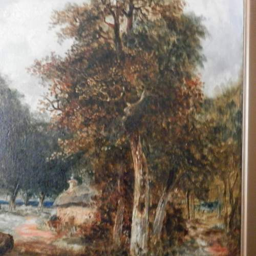 Oil on Board of Couple Walking in a Forest image-5