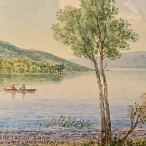 20th Century William Longmire Watercolour Painting of Coniston image-3