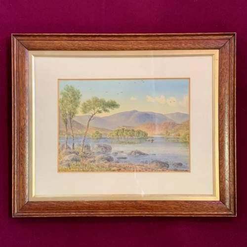 20th Century William Longmire Watercolour Painting of Rydal Lake image-1