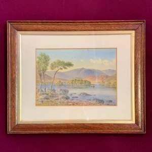 20th Century William Longmire Watercolour Painting of Rydal Lake