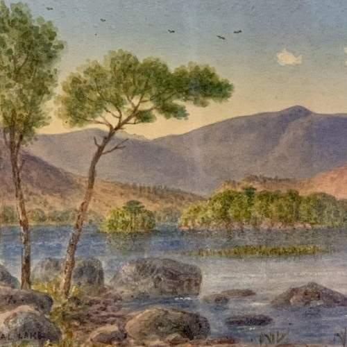20th Century William Longmire Watercolour Painting of Rydal Lake image-2