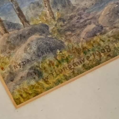 20th Century William Longmire Watercolour Painting of Rydal Lake image-4
