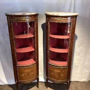 Pair of Pretty Inlaid Glazed Corner Cabinets