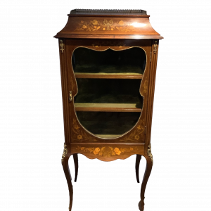 Exceptional Floral Marquetry Inlaid Display Cabinet