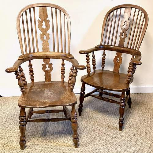 Near Pair of Victorian High Back Windsor Chairs image-1