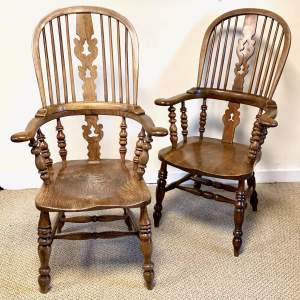 Near Pair of Victorian High Back Windsor Chairs