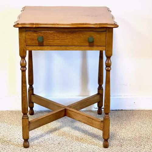 Vintage Oak Side Table image-1