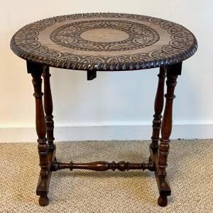 20th Century Carved Oak Drop Leaf Table