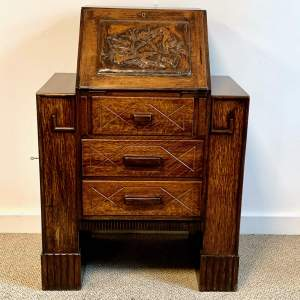 1930s Art Deco Small Students Oak Bureau