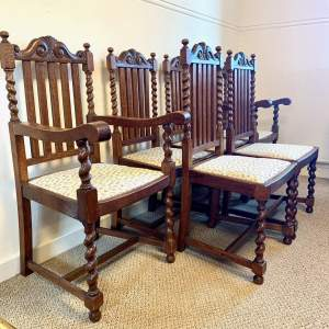 Set of Six Oak Barley Twist Dining Chairs