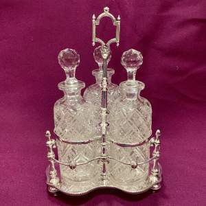 Victorian Silver Plated Three Bottle Decanter Stand