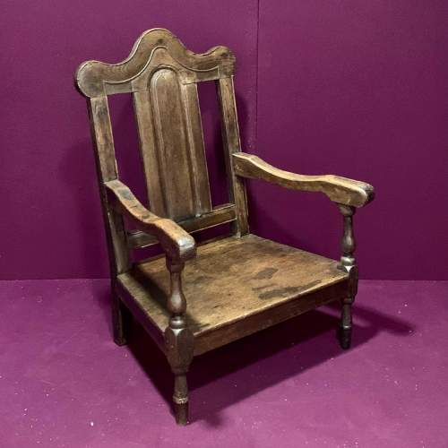 Early 18th Century Oak Nursing Chair image-1