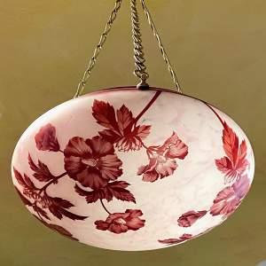 1920s Cameo Glass Ceiling Pendant