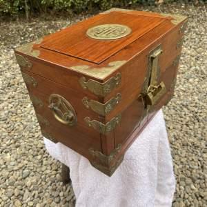 Oriental Brass Bound Jewellery Box