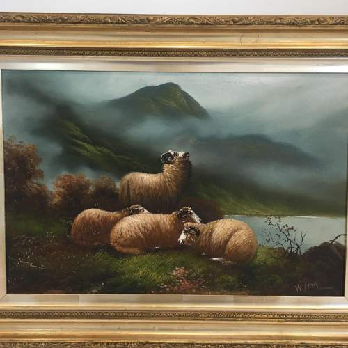W Davis Antique Oil Painting Sheep Resting in a Landscape Framed image-2