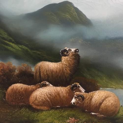 W Davis Antique Oil Painting Sheep Resting in a Landscape Framed image-3
