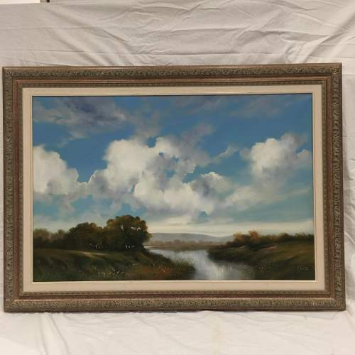 Extensive River Landscape Painted in Oil on Canvas - Signed image-1
