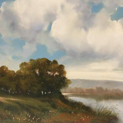 Extensive River Landscape Painted in Oil on Canvas - Signed image-4