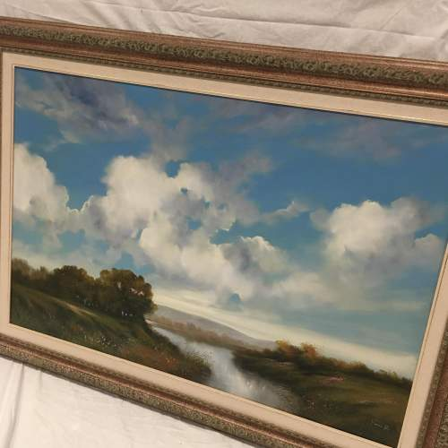 Extensive River Landscape Painted in Oil on Canvas - Signed image-5