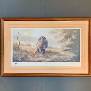 Limited Edition David Waller Print of a Labrador and Pheasant