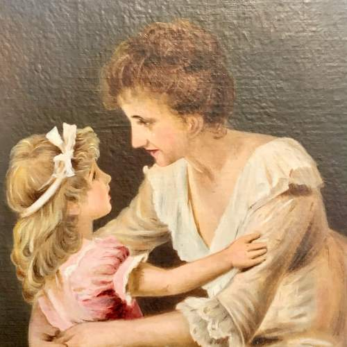 Oil on Board Painting of a Mother and Child image-2