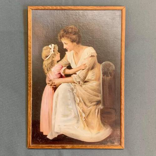 Oil on Board Painting of a Mother and Child image-1