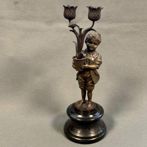 French Bronze Young Boy Sculpture Candle Holder